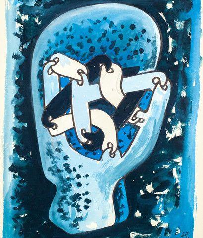 """SOREL ETROG """"LINK HEAD STUDY - BLUE"""" WC, 1967"""