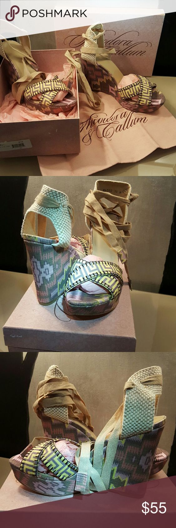 """Theodora Callum platforms These are NWOT including the box and dust bag. Never worn! 5"""" at back 1"""" front platform. theodora callum  Shoes Platforms"""
