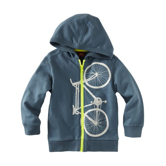 Fan Favorite! Cykel Hoodie- Whether he's learning to ride a bike for the first time or cycling with confidence, we've got him covered. A bright contrast zipper can't be missed and a cool graphic comes with. Pedal away! Available at teacollection.com.