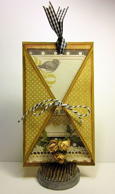 Fancy Fold card with Carta Bella papers, Cheery Lynn Designs dies, May Arts Ribbons