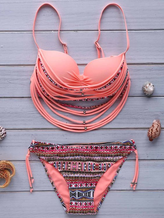 Stylish Spaghetti Strap Printed Underwire Strappy Embellished Bikini Set For Women