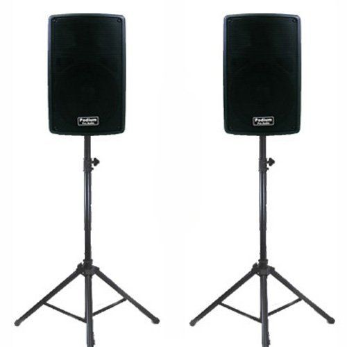 """1 Pair of New Karaoke PA Band 8"""" Pro Audio Powered Active 800 Watt Speakers and Stands DJ Set PP802ASET1 by Podium Pro Audio. $314.99. Specifications8"""" Pro Audio Powered Speaker Set1 Brand New Pair of PP802A 2-Way Powered Speakers400 Watts RMS per pair & 800 Watts Max per pairSensitivity is 109dB with 30-20,000 Hz Frequency ResponseHeight 16"""" x Width 10.5"""" x Depth 10.5"""" per Speaker18 Pounds per SpeakerNew Adjustable Speaker StandsAdjustable Height from 44 inches to 5..."""