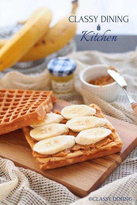 Peanut butter & Banana Waffle sandwich - ピーナッツバター&バナナワッフルサンド