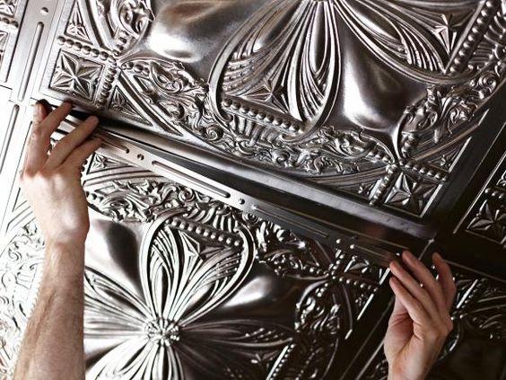 How to Install Tin Ceiling Tiles >> http://www.hgtv.com/remodel/interior-remodel/how-to-install-tin-ceiling-tiles?soc=pinterest