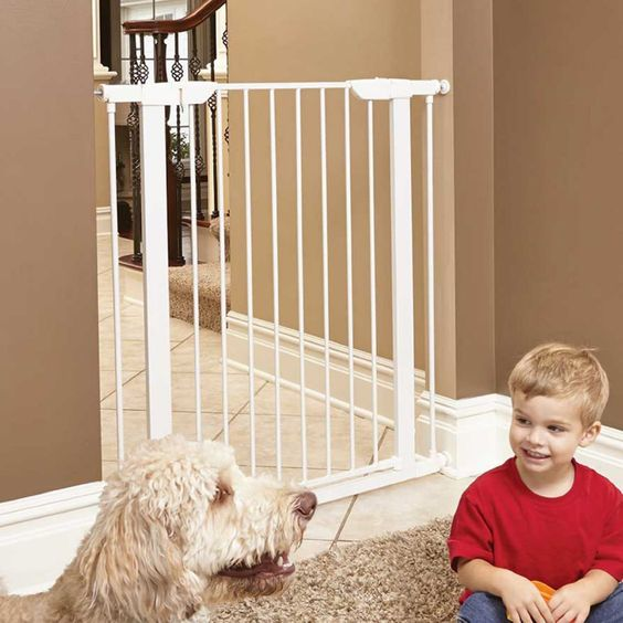 This New Steel Pet Gate Is Developed With Fur Parents In Mind It Is Strong Enough To Keep Persistent Furbabies Out Ye Pet Gate Dog Gate Freestanding Dog Gate