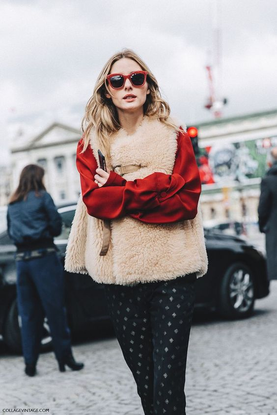 Olivia Palermo´s teddy bear furry vest look