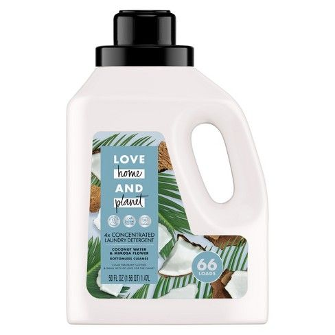 Love Home Planet Coconut Water Mimosa Flower Concentrated Laundry Detergent 50 Fl Oz Laundry Detergent Organic Detergent Paraben Free Products