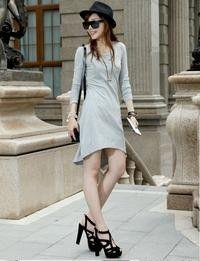 Grey Simple Asymetriic Round Neck Dress  $9.24 on @ClozetteCo