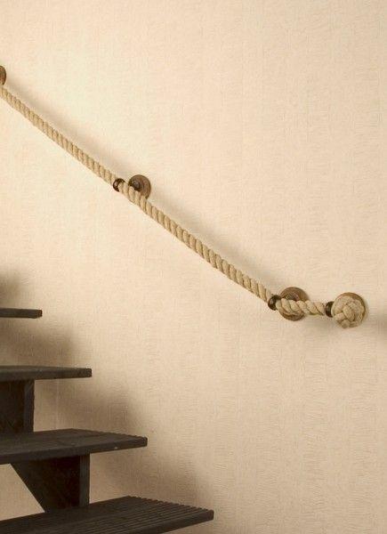 decoracin rustica con pasamanos de cuerda
