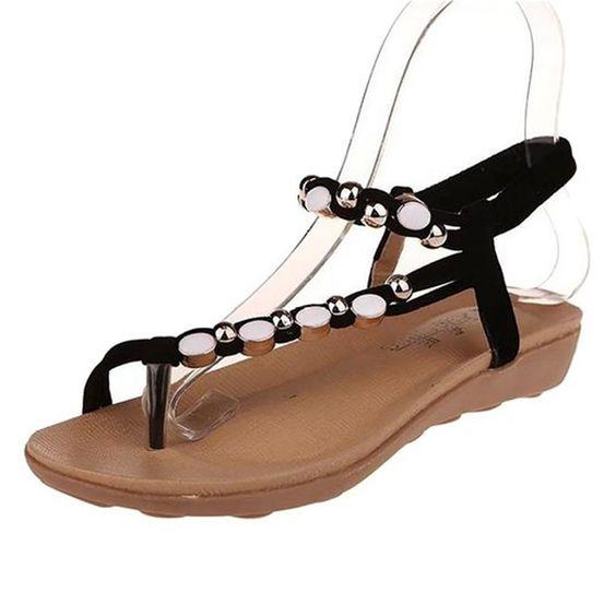Sandalias Tipo Flip Flop Strass Negro