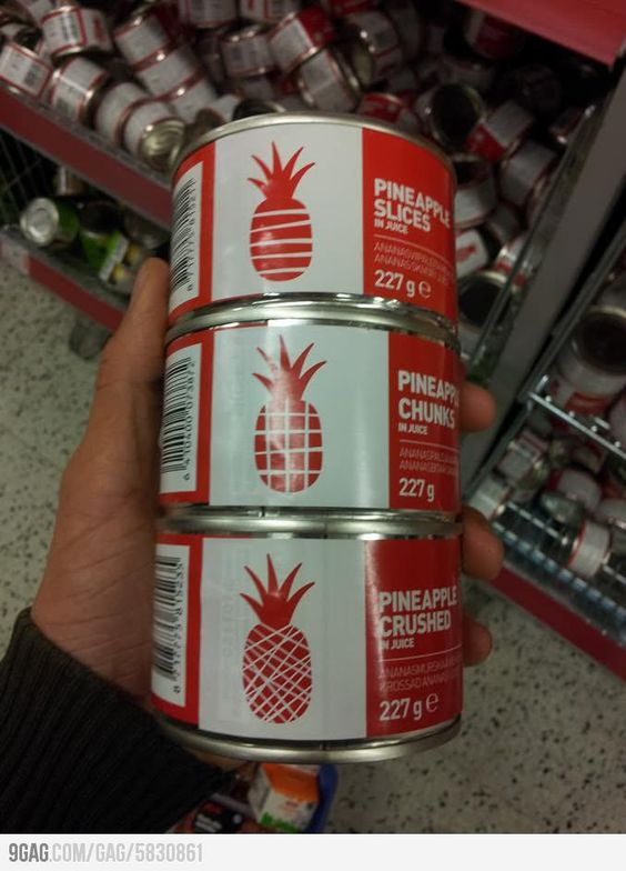 Creative and user friendly canned pineapple labels.