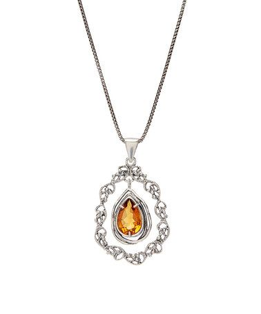 Loving this Yellow Citrine & Sterling Silver Lace Drop Necklace on #zulily…