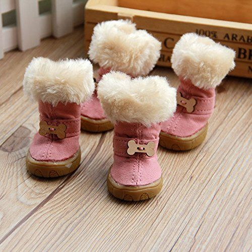 Colorfulhouse Cute Bone Pet Snow Boots Nonslip Winter Dog Boots 4