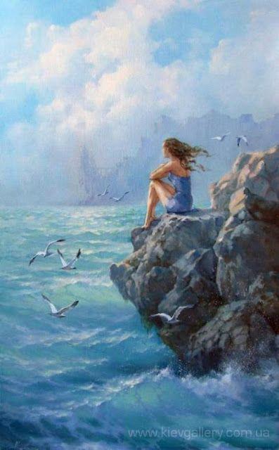 Chica En La Playa Mirando El Océano Paisaje Marino Pinturas Hermosas Paisaje Para Pintar