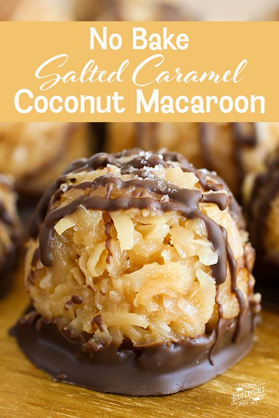 No Bake Salted Caramel Coconut Macaroons | Dixie Crystals