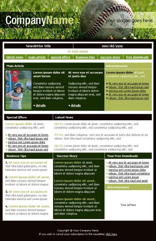 Free Newsletter Templates Downloads Baseball Club Newsletter - newsletter template free word