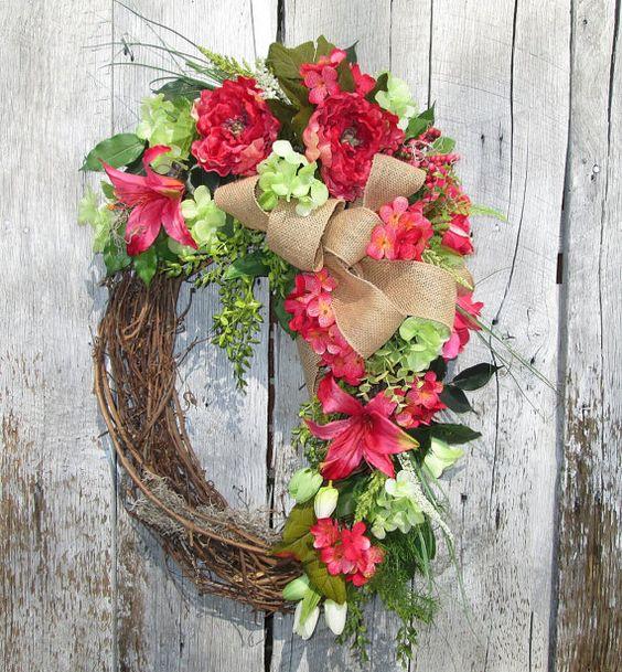 Summer Wreath Tropical Wreath Burlap Wreath by KathysWreathShop
