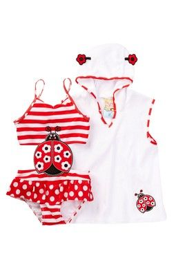 Little Lady Bug Cutout Swimsuit & Coverup Set (Toddler Girls)