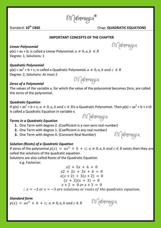 Quadratic Equations - Notes - 1 CBSE - 10 Pinterest Equation - 2 1 degree