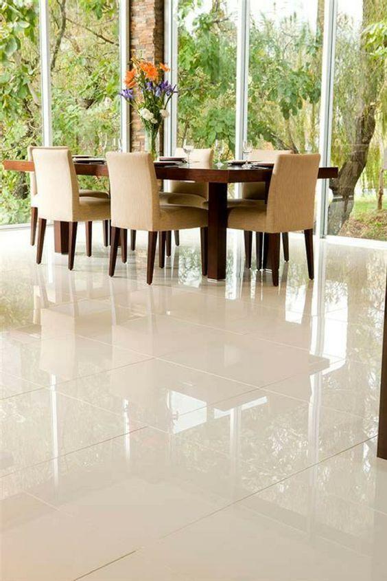 Living Room Cream Gloss Floor Tiles