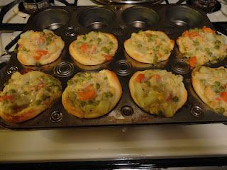 Muffin Tin Mini Chicken Pot Pies with Pillsbury dough.