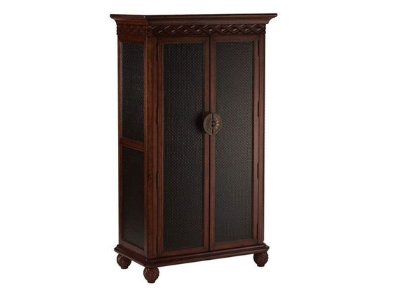 Use the Black Leather Armoire to organize your things while providing an elegant accent to any room.