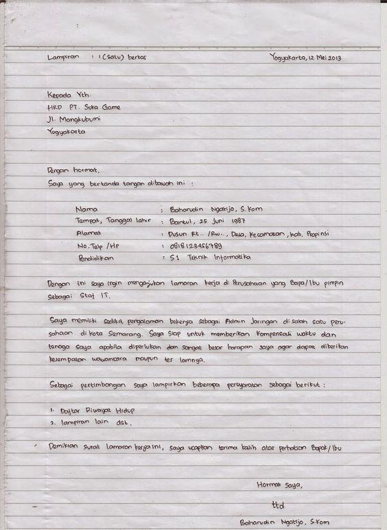 Riwayat Hidup Contoh Surat Lamaran Kerja Tulis Tangan Id Lif Co Id