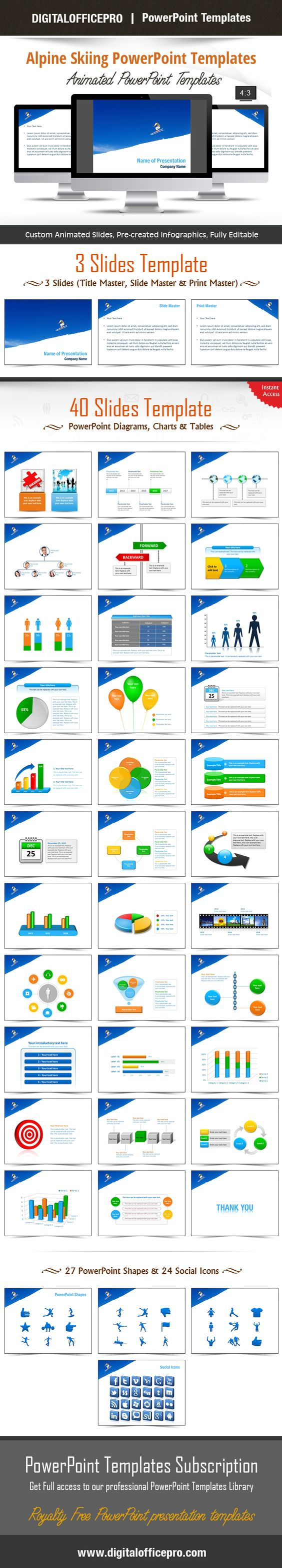 Impress and Engage your audience with Alpine Skiing PowerPoint Template and Alpine Skiing PowerPoint Backgrounds from DigitalOfficePro. Each template comes with a set of PowerPoint Diagrams, Charts & Shapes and are available for instant download.