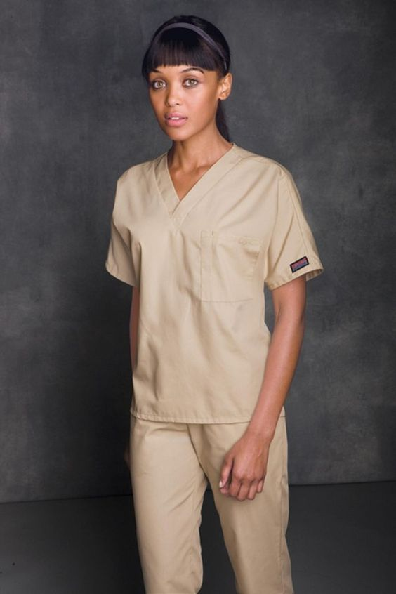 Cherokee Scrub Top Workwear Unisex V-neck With Chest Pocket 4777 - Khaki in Clothing, Shoes & Accessories, Uniforms & Work Clothing, Scrubs | eBay