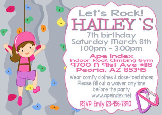 Girl Rock Climbing Party Invitation 5x7 printable digital file – Rock Climbing Birthday Party Invitations