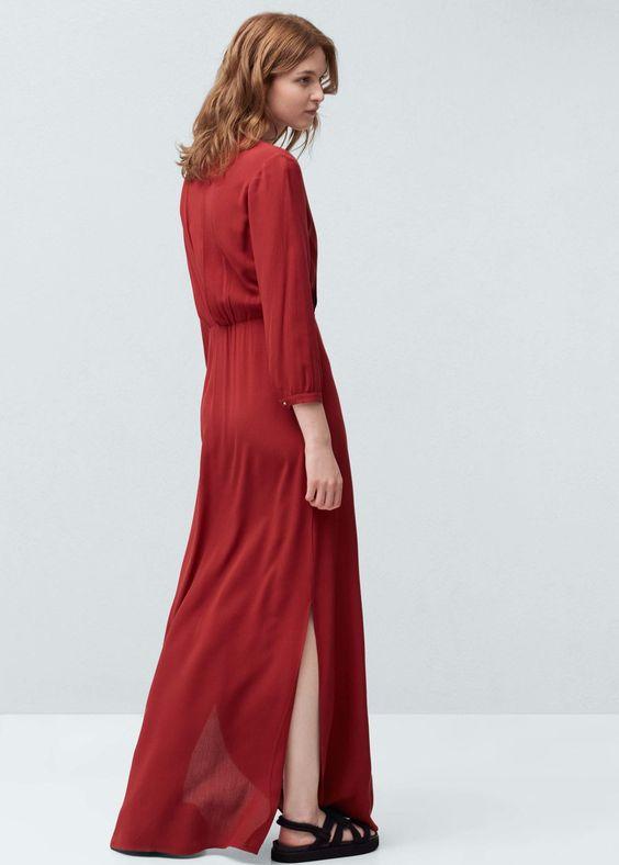 Soepelvallende lange jurk | MANGO