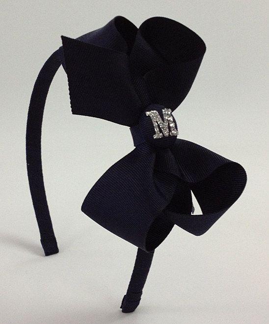 Navy Blue Initial Bow Headband.