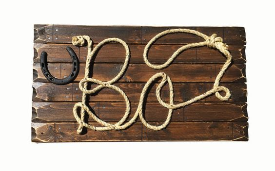 BO: 27 Western Rope Name Sign Cowboy Theme Room by RopeAndStyle