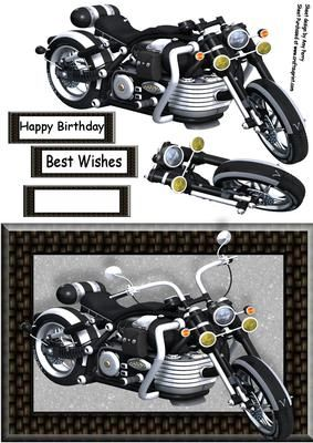 "Beautiful Black Motorbike on Craftsuprint designed by Amy Perry - Beautiful Black Motorbike in lovely black woven effect frame with decoupage and choice of tag ""Happy Birthday"" ""Best Wishes"" and a blank tag for your own sentiment."