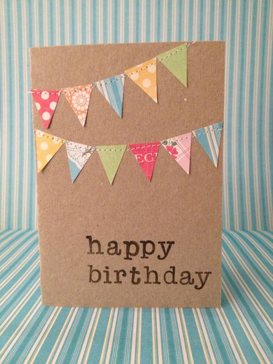 Birthday Bunting card by TheRabbitandtheOwl on Etsy, $5.50