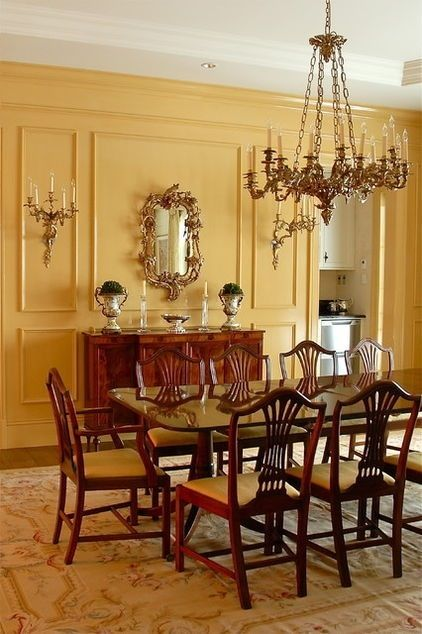 A beautiful traditional dining room love the warm ochre for Traditional dining room pinterest