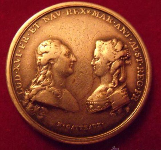 Moneda con los perfiles de Luis XVI y Maria Antonieta
