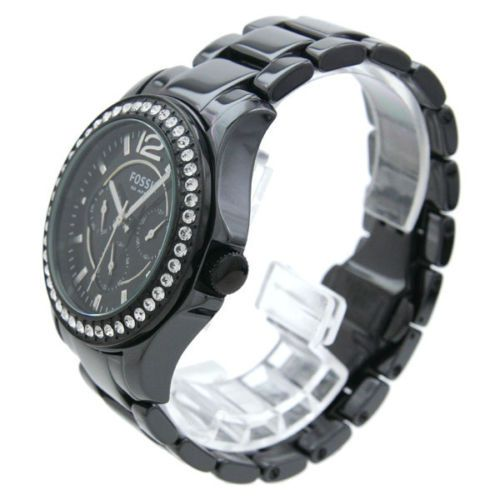 new fossil womens black ceramic bracelet swarovski