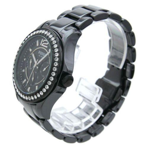New Fossil Womens Watch Black Ceramic Bracelet Swarovski