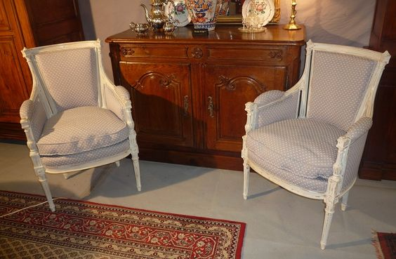 Nice pair of #armchairs #Directoire #style in lacquered #beechwood, late #19thcentury. For sale on #Proantic by De la Cave au Grenier.