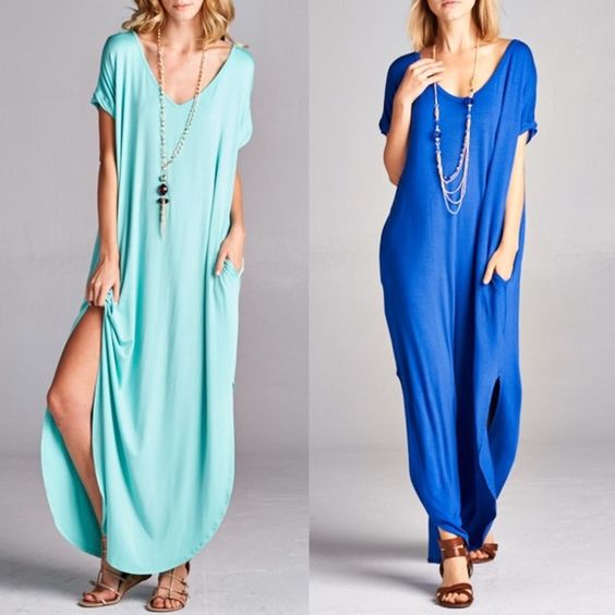 CHARLIZE solid loose fit dress -ROYAL BLUE LOOSE FIT LONG DRESS WITH POCKET AND SIDE OPEN DETAIL.  Available in mint & royal blue. Bellanblue Dresses Maxi