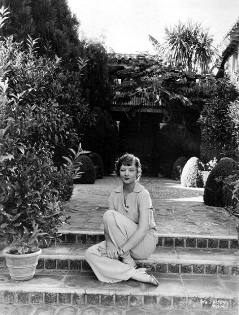 Myrna Loy at home: