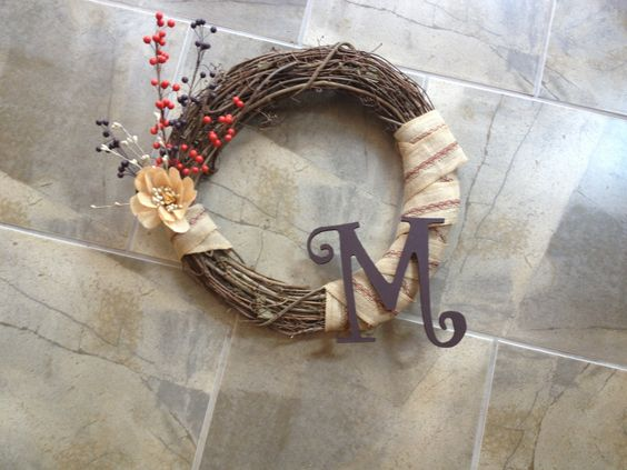DIY grapevine and burlap wreath