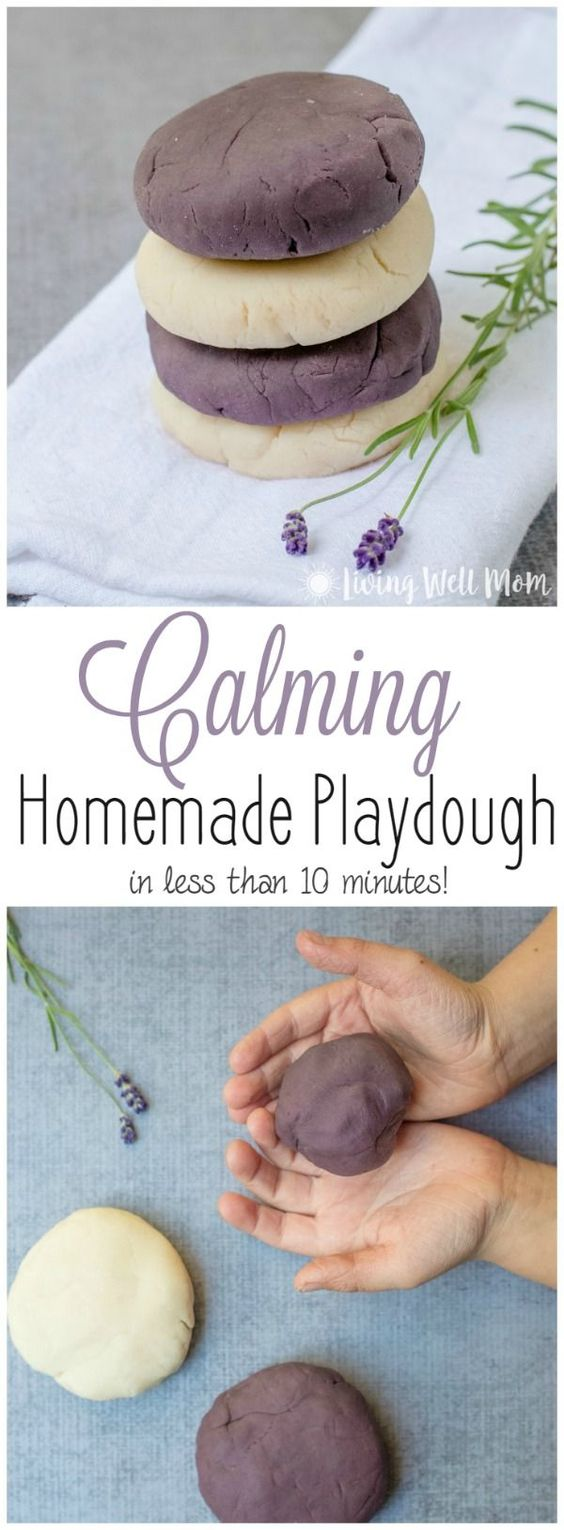 Using essential oils, this Calming Homemade Playdough recipe is both a fun and relaxing activity for kids. Bonus: it takes less than 10 minutes to make!