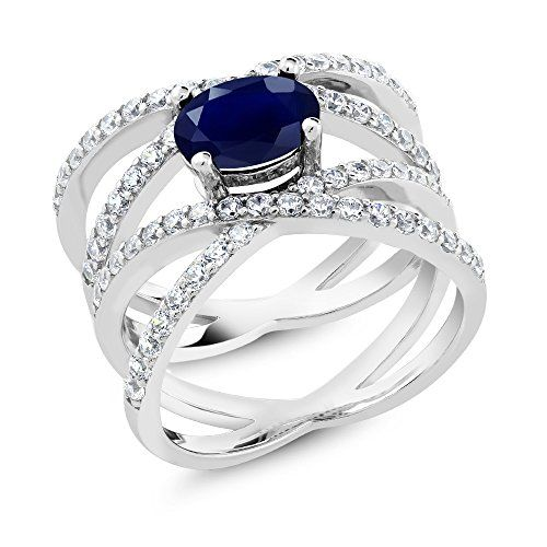Earring /& Pendant Jewelry set 5-9 Blue Sapphire /& Cz .925 Sterling Silver Ring