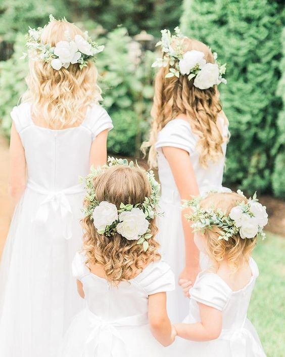Flower Girls with the most lovely flower crowns. Manda Weaver Photography Flourish Floral Artistry St Michaels Maryland, Eastern Shore Wedding