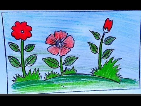 How To Draw A Landscepe Garden Drawing Easy Easy Drawings Drawings Garden Drawing