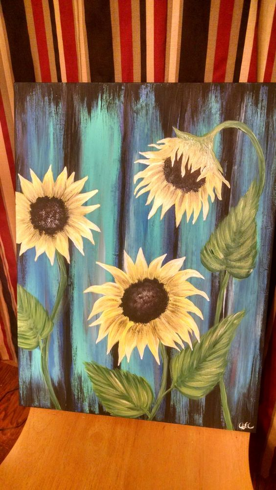 Sunflower weathered wood acrylic on canvas my paintings for How to paint sunflowers in acrylic
