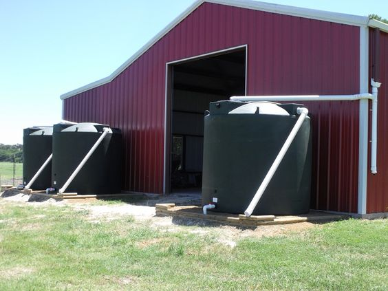This is (3) Poly-Mart 2500 Gallon Rain harvesting tanks collecting #rainwater off of a large barn. Believe it or not, only 2 inches of rain will fill these up!: