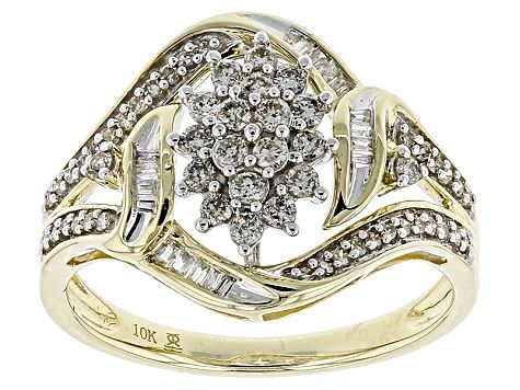 White Diamond 10k Yellow Gold Ring 50ctw Rgd204 White Diamond Rings Gold Rings Diamond